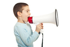 Profile of boy shouting loudpspeaker. Profile of boy shouting into loudspeaker isolated on white background Stock Photos