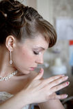 Profile of bride. Profile of young bride as she looks down at her side stock images