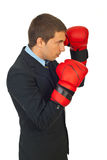 Profile of business man with boxing gloves Royalty Free Stock Photos