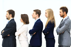 Profile of a business team in a single line. Against white background Royalty Free Stock Photos