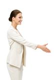 Profile of business woman handshaking Royalty Free Stock Photo