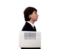 Profile of businessman with barcode Royalty Free Stock Photography