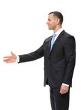 Profile of businessman handshake gesturing. Profile of businessman hand shake gesturing, isolated on white Stock Photography