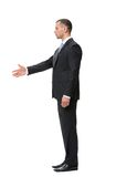 Profile of businessman handshaking. Profile of handshaking businessman, isolated on white. Concept of leadership and success Stock Photos