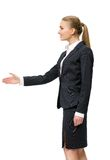 Profile of businesswoman handshaking Stock Image