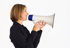 Profile of a businesswoman with a megaphone Royalty Free Stock Images