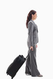 Profile of a businesswoman with a suitcase Royalty Free Stock Images