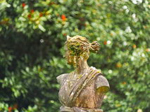 Profile of a bust of a woman. A sculpture of a woman, seen from the profile against an unfocused background Royalty Free Stock Image