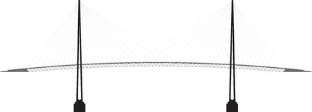 Profile cable-stayed bridge vector illustration