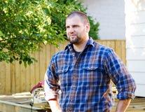 Profile of carpenter. Beside deck royalty free stock photos