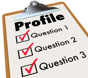 Profile Clipboard Checklist Questions Asking Personal Data Infor. Profile word on a clipboard checklist and several boxes for answers to questions asking Royalty Free Stock Photos