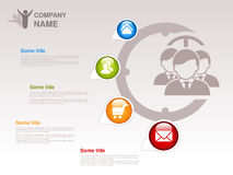 Profile of company.  Infographic template. Symbol of businessmen with blue, green, orange, red button with Home symbol,  About us. Symbol, Product or Buy symbol Royalty Free Stock Photo