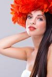 Profile of creativity hairstyle and fashion make-u Royalty Free Stock Photos