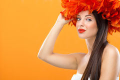 Profile of creativity hairstyle and fashion make-u Stock Image