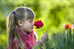 Profile of cute pretty smiling child girl with gray eyes and long hair smelling bright red tulip flower on blurred sunny summer. Green bokeh background stock images