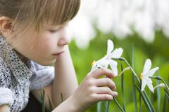 Profile of cute pretty thoughtful child girl outdoor smelling white daffodil on sunny summer or spring day.  royalty free stock photo
