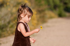 Profile of cute two-year-old girl holding flower. Profile of cute, multi-racial, 2 year old girl holding a yellow flower as she examines it.  She is fascinated Stock Image