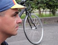 Profile of a cyclist Stock Images