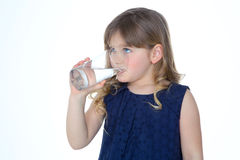 Profile of drinking blond girl Royalty Free Stock Images