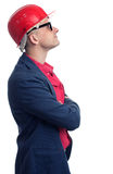 Profile of Engineer with hard hat looking up Stock Photos