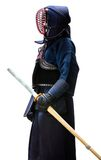 Profile of equipped kendo fighter with shinai Stock Image
