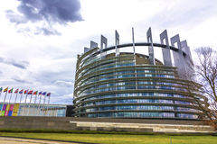 Profile of the European parliament building Stock Photography
