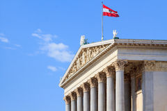 Profile of the facade of the Austrian Parliament Stock Photo