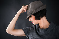 Profile of a face of a beautiful woman Stock Images