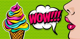 Summer comic text woman girl pop art. Profile face beautiful woman pop art style. Wow shocked face vintage girl ice cream cone. Sweet colored poster comic text Royalty Free Stock Images