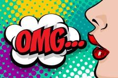 Summer OMG banner woman comic book pop at stock illustration