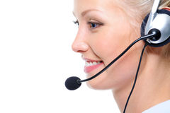 Profile face of happy beautiful female operator Royalty Free Stock Photography