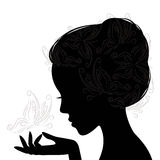Profile face young woman . Silhouette . Profile face young woman and butterfly. Hand drawing illustration on white background Royalty Free Stock Photography