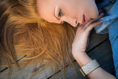Profile fashion portrait of strict red-haired girl Royalty Free Stock Photos