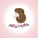 Profile  feminine face  with roses Royalty Free Stock Image