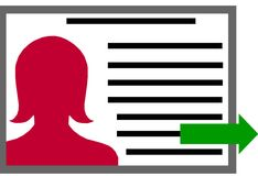 Profile File Clipart with Woman. This profile of a woman's file uses an arrow to point to submission.  Looks similar to a driver's license or FBI type submission Royalty Free Stock Images
