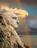 Profile of George Washington on Mt Rushmore royalty free stock images