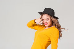 The profile of girl in hat Stock Photography