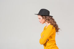 The profile of girl in hat Stock Photo