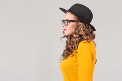 The profile of girl in hat Royalty Free Stock Image