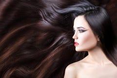 Profile girl in her hair. Stock Photo