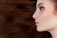 Profile of girl over hair Stock Images
