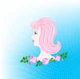 Profile of girl with pink hair Stock Images