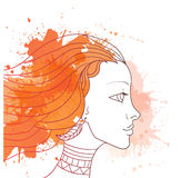 Profile girl with spray. Autumn profile girl with spray Royalty Free Stock Images