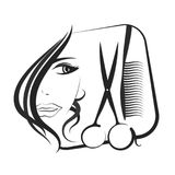 Profile girls for beauty and hair salon. With scissors and comb Royalty Free Stock Photos