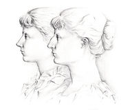 Profile girls Royalty Free Stock Images