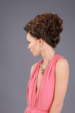 Profile of Gorgeous Lady with Braided Hairs Royalty Free Stock Image
