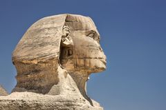 Profile of the Great Sphinx in Giza, Egypt stock images