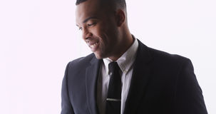 Profile of handsome black man wearing a suit Stock Photos