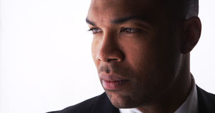 Profile of handsome black man wearing a suit Royalty Free Stock Image