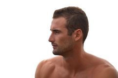 Profile of handsome male model on white background Royalty Free Stock Image